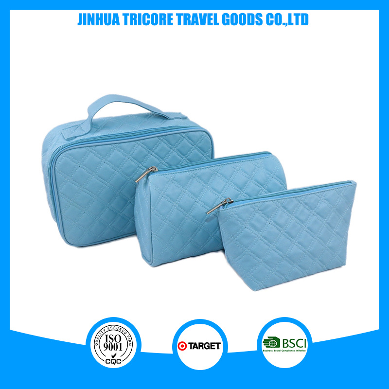 Good Quality Blue PU with Quilting Seam Cosmetic Bag Sets