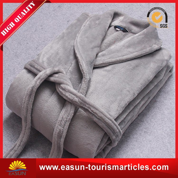Luxury Customized Grey Cotton Fleece Hotel Bathrobe