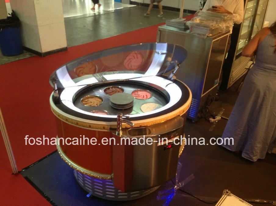 Round Rotatable Ice Cream Display Showcase