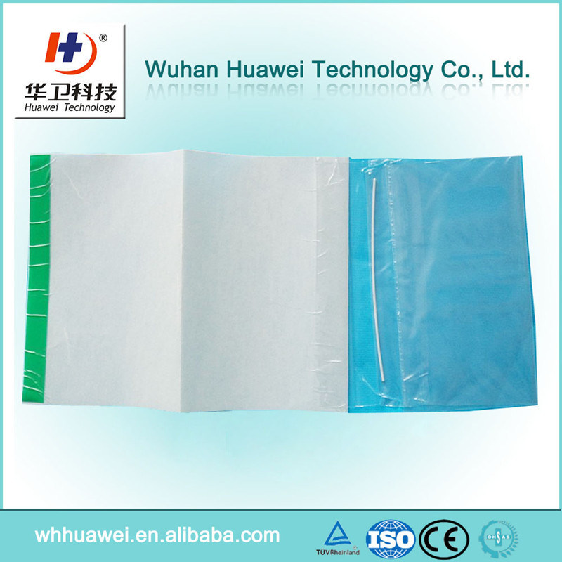 Disposable Hospital PU Film Surgical Dressing Drape with One or Two Collect Bag