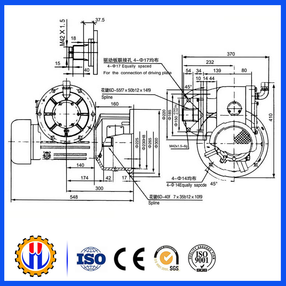 Construction Spare Parts Worm Gear Reducer Gearbox, Hoist Speed Reducer
