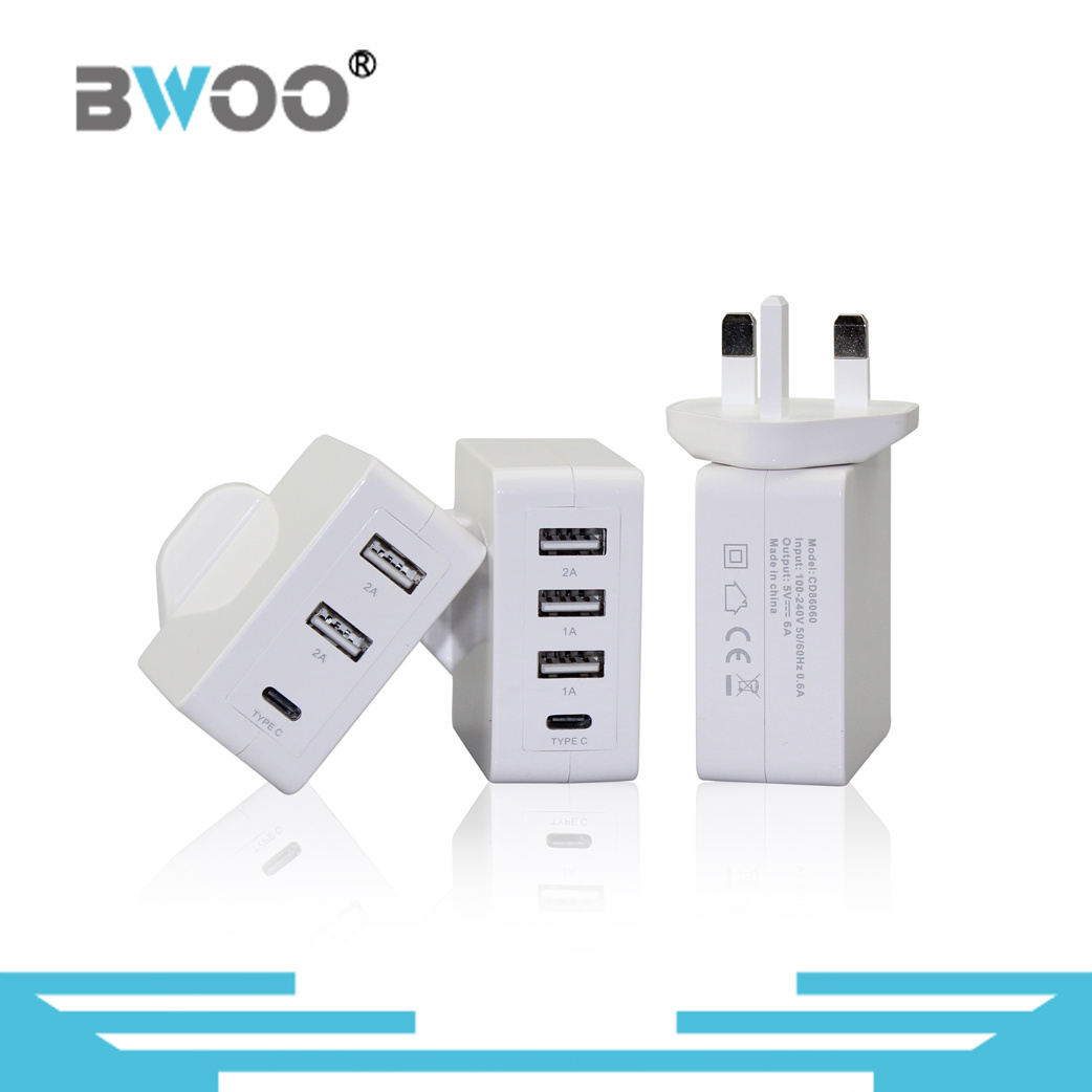 Portable USB Wall Charger with UK/EU/US Plugs