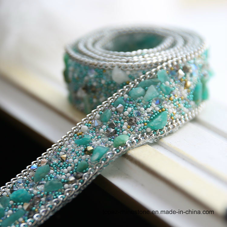2cm Heat Transfer Glitter Glass Beads Chain Iron on Hotfix Crystal Rhinestone Chain (TS-051)