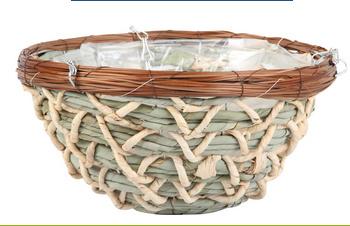 Red Rattan & Green Lattice Round Basket