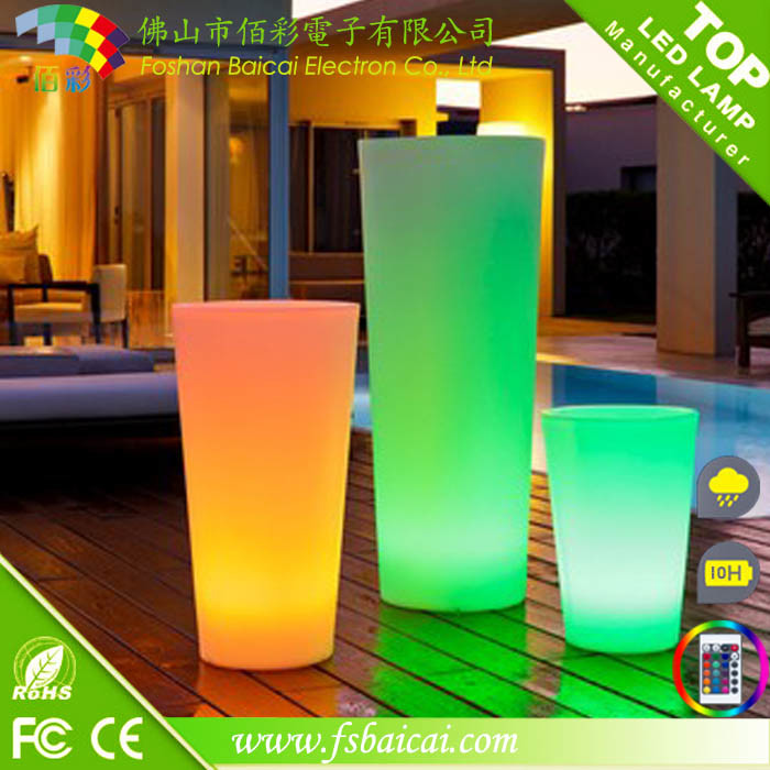 LED Garden Flower Pot with Plastic Material
