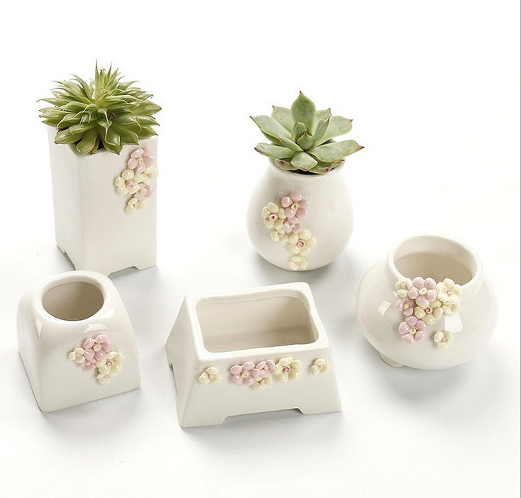 Cute Rabbit Bunny Ceramic Succulent Flower Pot Garden Porcelain