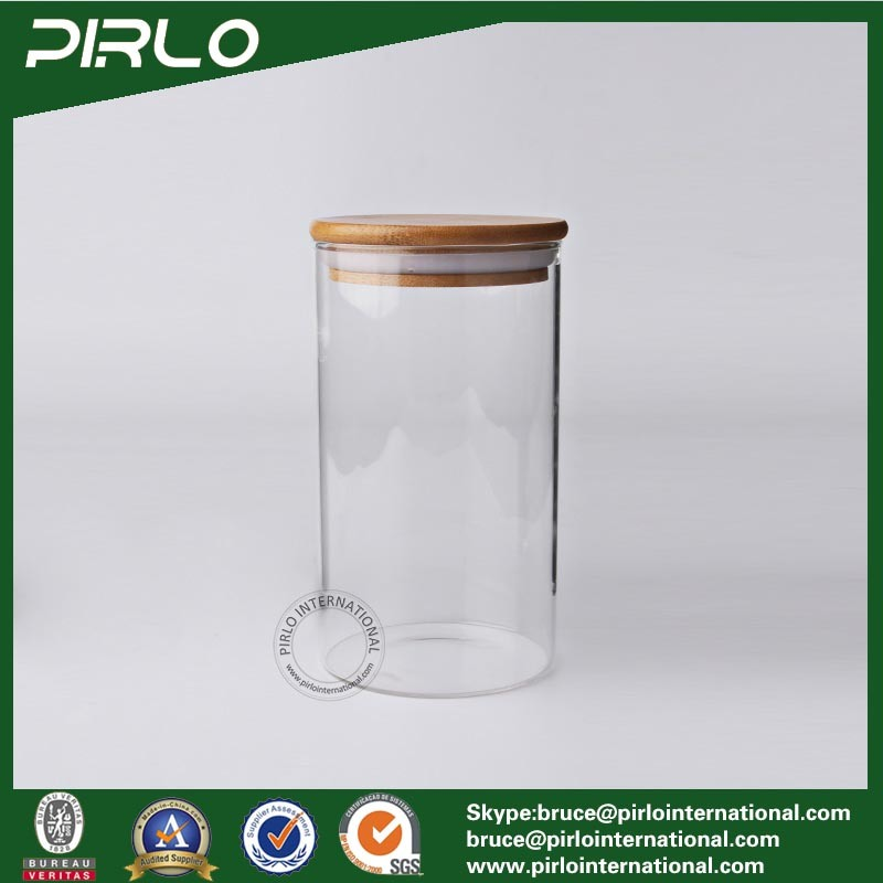 90ml 170ml 300ml 400ml 500ml 600ml800ml Airtight Heat Resistant Borosilicate Glass Food Storage Jar with Rubber Seal Bamboo Lid