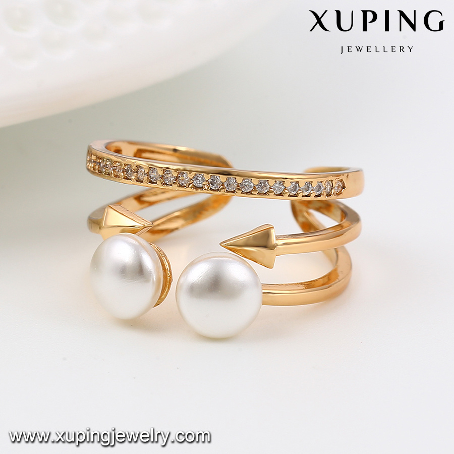 13892 Fashion 18k Gold Jewelry Open Pearl Ring for Women