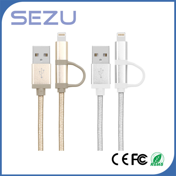 Factory Directly 2 in 1 Mfi Certificated USB Charging and Data Braided Cable for iPhone and Android (Gold)