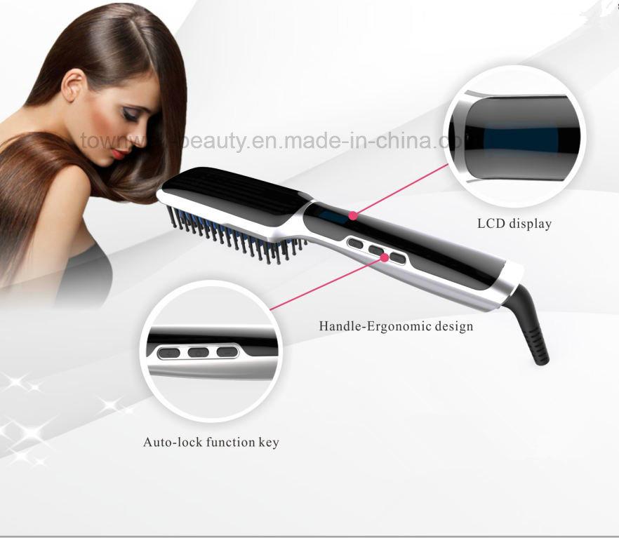 Ceramic LCD Electric Hair Brush Straightener with Ion Generator