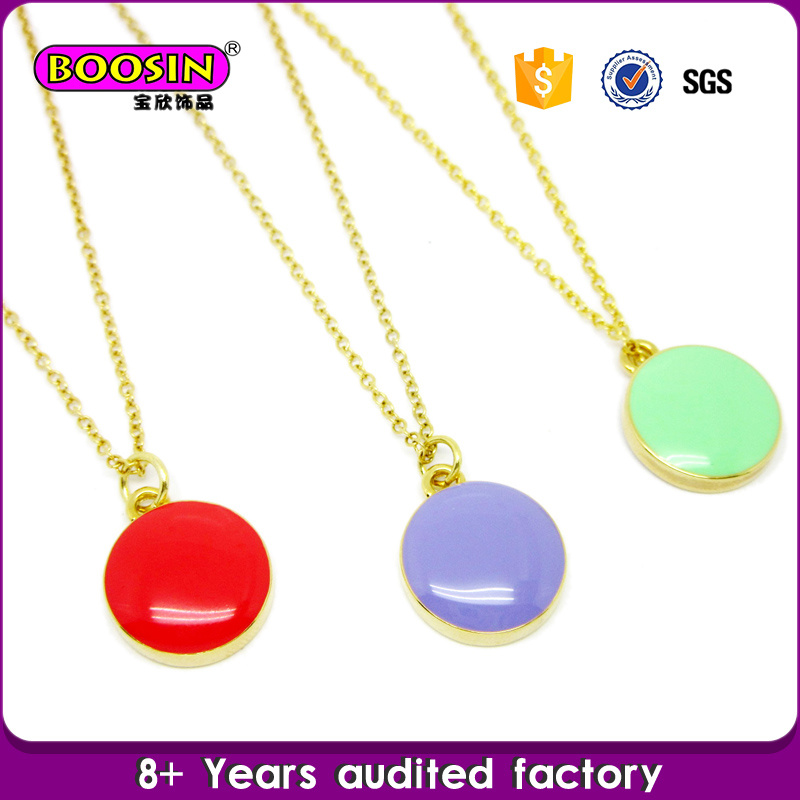 Fashion Gold Plated Custom Enamel Disc Charm Beautiful Necklace