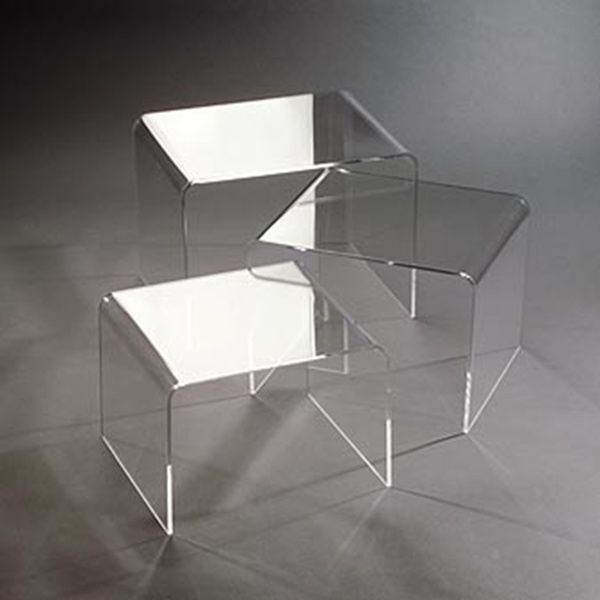 3PC Acrylic Stackable Nesting End Side Tables - Clear
