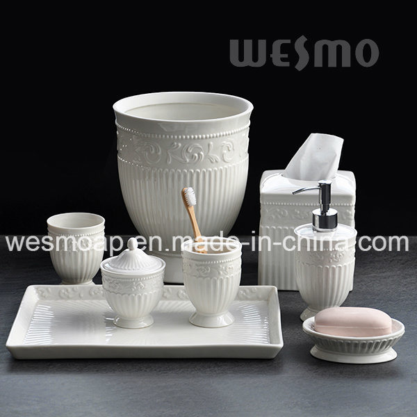 Embossed Porcelain Bathroom Set (WBC0579A)