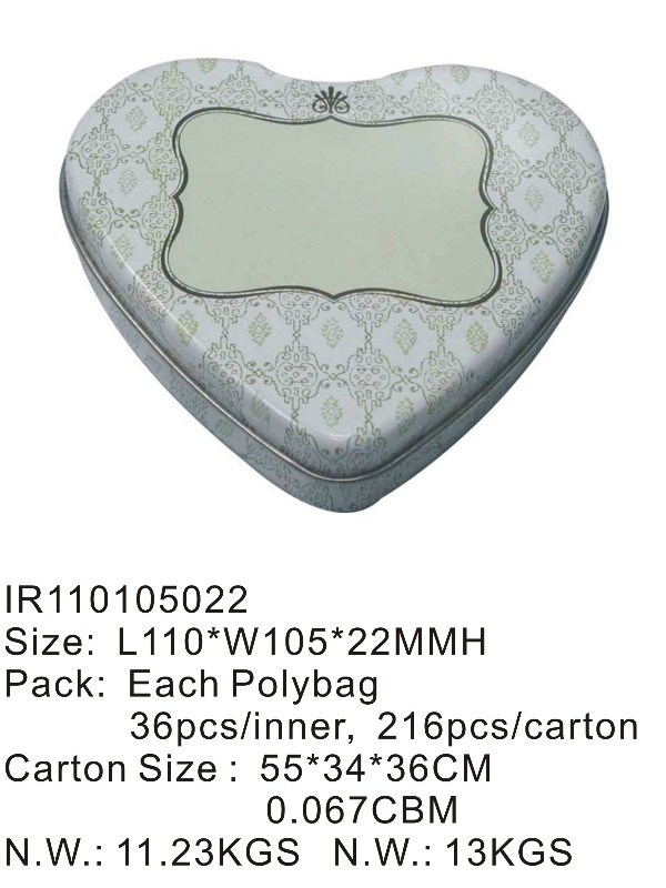 Heart Shape Food Tin Box with Cheaper Price