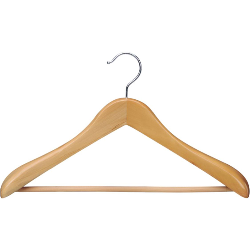 Natural Wooden Suit Hanger with Anti-Slip Bar