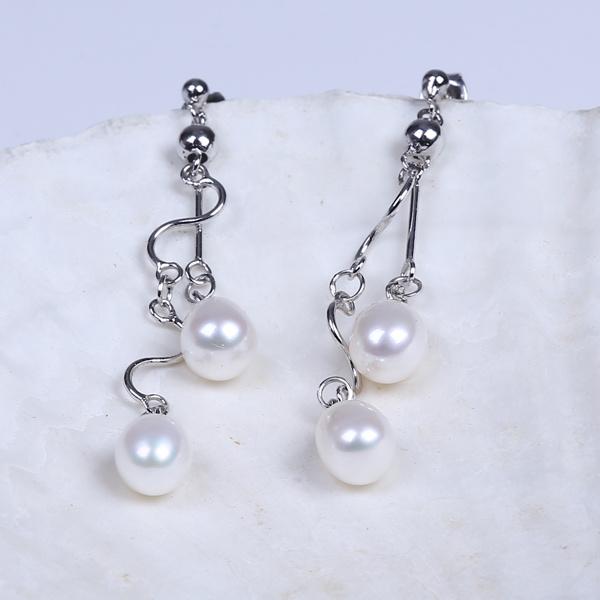 2016 Korean Simple Fashion Design Freshwater Real Pearl Earring