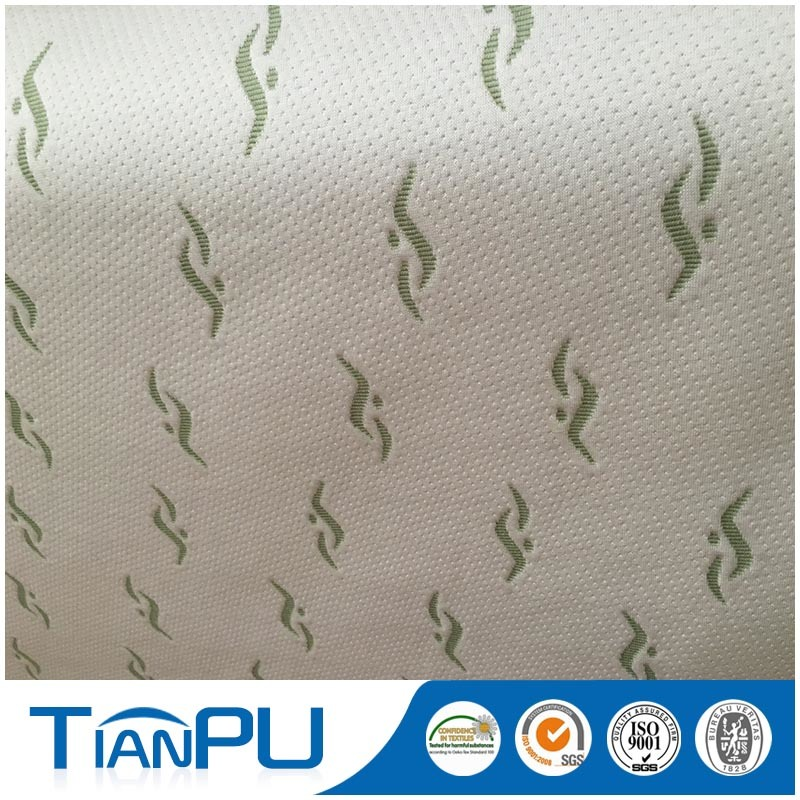 Green 100% Poly Knitted Mattress Ticking Fabric