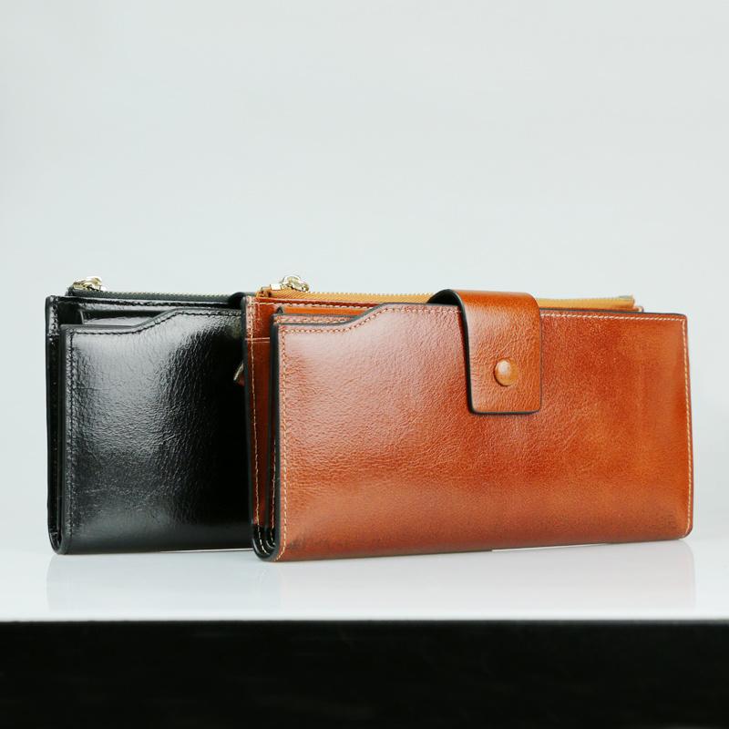 Ladies Fashion Clutch Bag Genuine Leather Long Travel Wallet