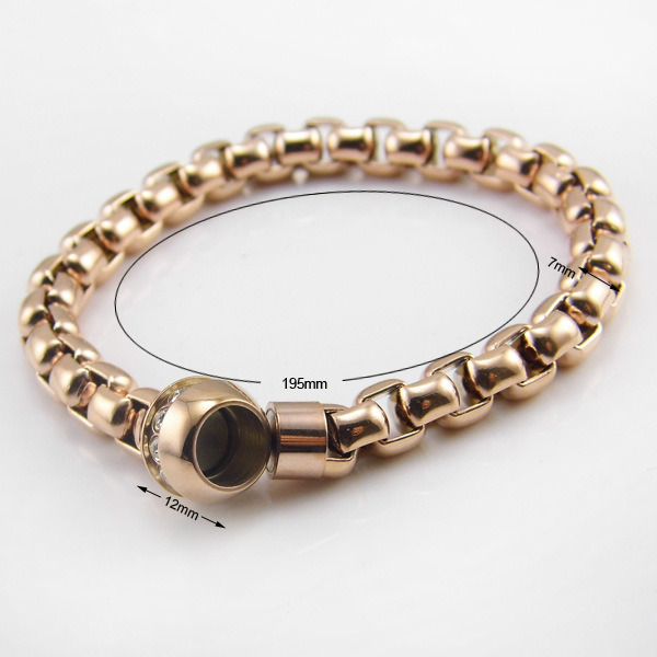 Stainless Steel Bracelet with Diamond Round Magnetic Open Jewelry