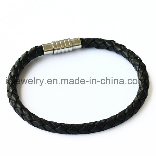 Leather Bracelet with Magnet Screw Clasp