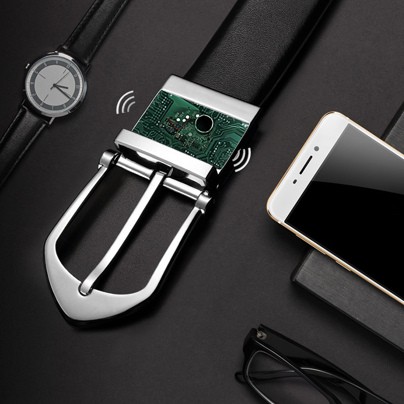 Phone Anti Lost Smart Leather Belt Pin Buckle for Men