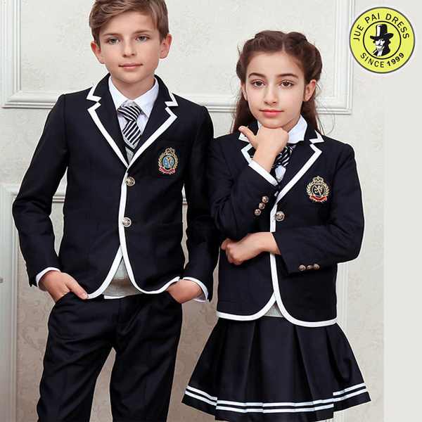 Dark Blue Primary School Uniforms Design for Boy and Girl