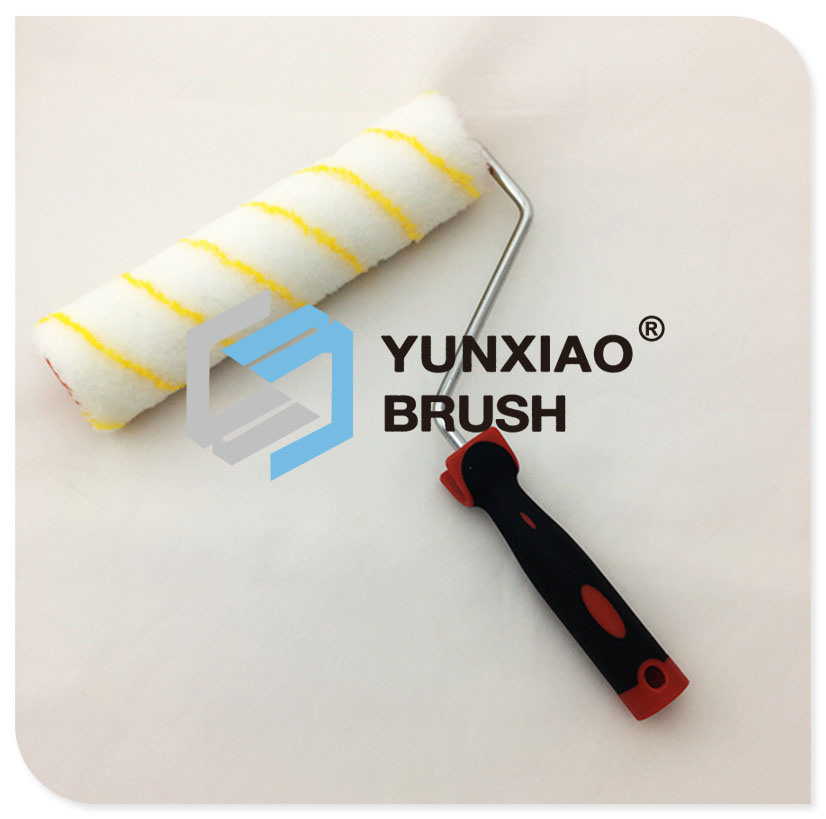 Yellow Stripe Mix Fabric Paint Roller with Rubber Handle