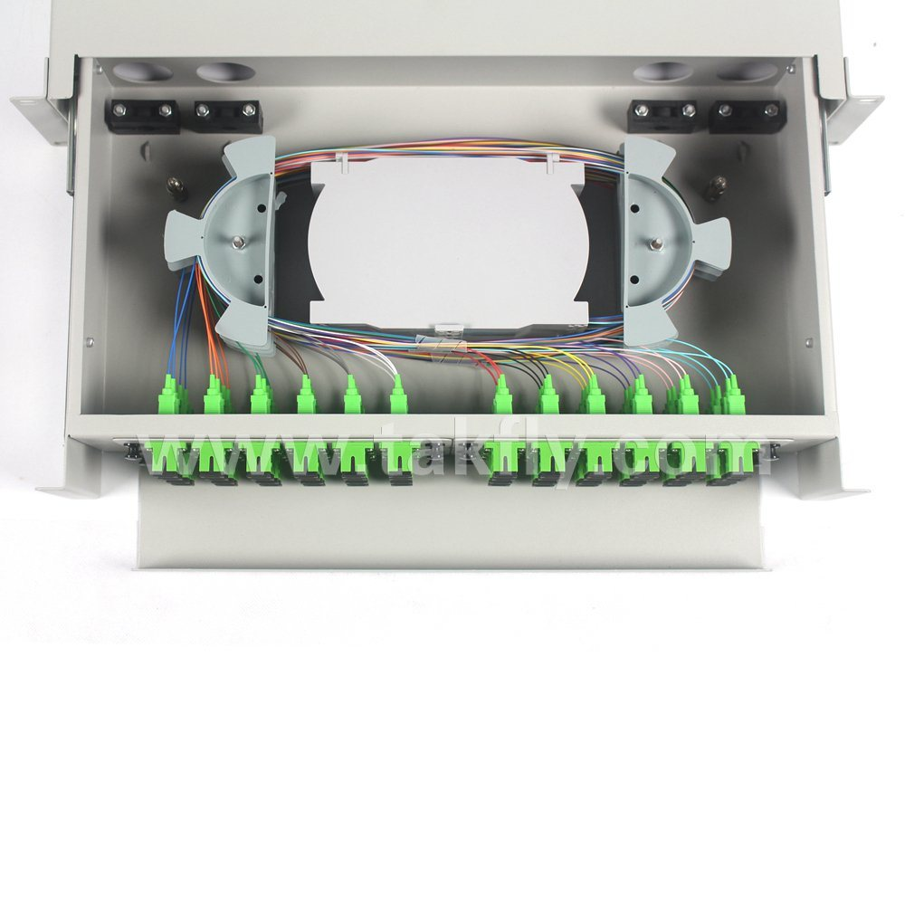 FC/Sc/LC/St 48 Ports FTTH/FTTX Optical Rack Mounted ODF