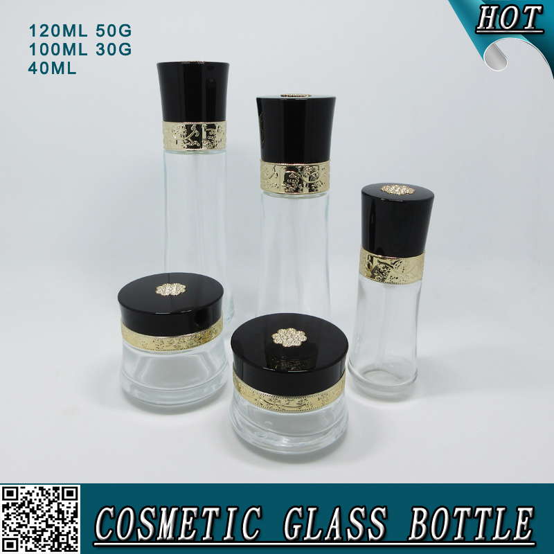 New Design Customized Cosmetic Glass Material Bottle Cream Set