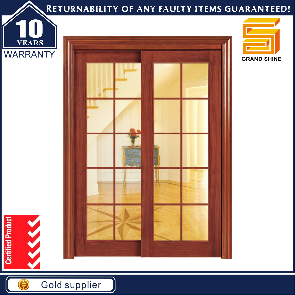 Solid Wooden Double Panel Fiberglass Modern Interior Wood Door