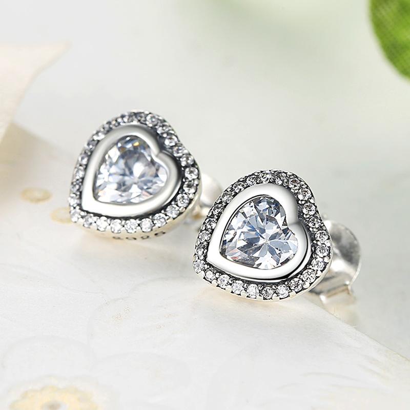 CZ Stone Heart Shape S925 Jewelry Sterling Silver Earrings