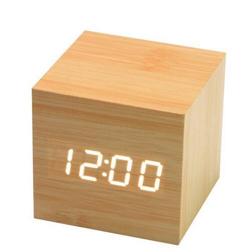Portable LED Wooden Design Desk Clock