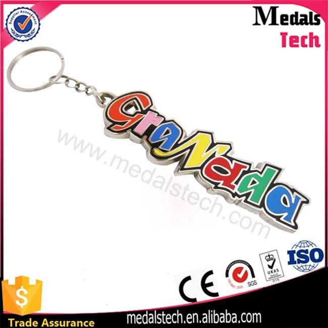 Colorful Shiny Nickel Plated Hard Enamel Metal Souvenir Keychain