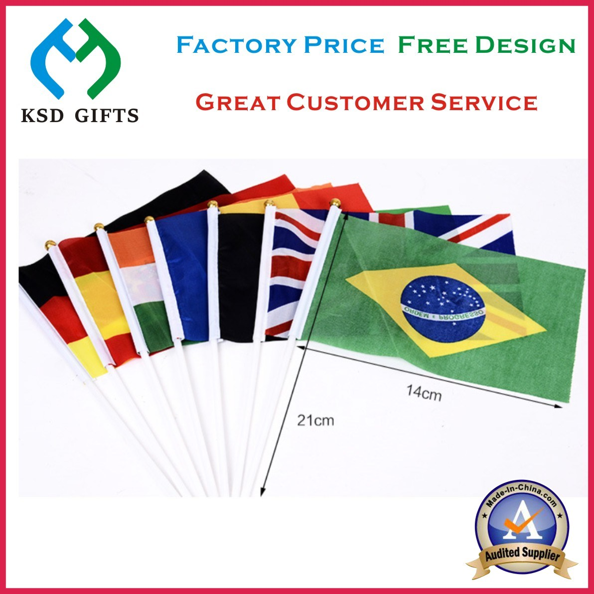 2017 High Quality Waving Polyster Promotional Hand Flag