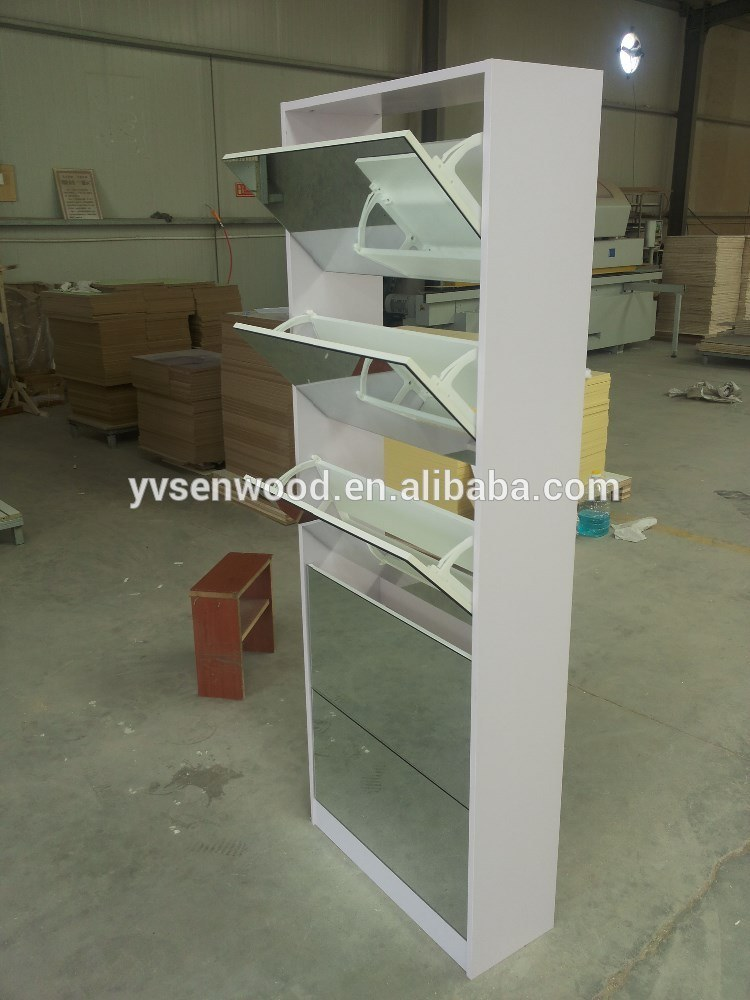 5 Doors Mirror Shoe Cabinet
