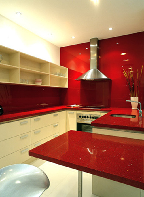 Red Quartz Vanity Top (WFCM01)  China Red Quartz Vanity Top, Kitchen