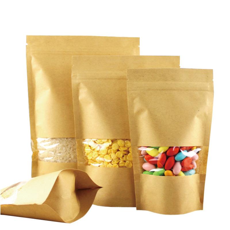 Kraft Custom Printed Transparent Ziplock Bags for Food Packaging with Window