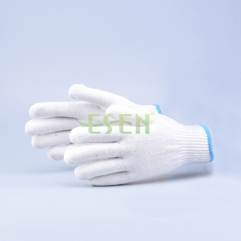 Safety Gloves/Working Gloves/Hand Gloves/Cotton Gloves/Knitted Gloves in Blue Edge