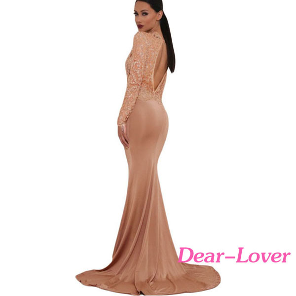 Khaki Sheer Glitter Mock Neck Cut out Back Maxi Evening Gown
