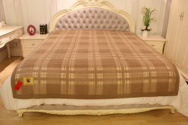Camel Wool Lattice Blanket/Cashmere Fabric/Yak Wool Textile/Bed Sheet/Bedding
