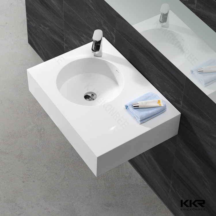Italian Style Solid Surface Floor Standing Bathroom Sinks