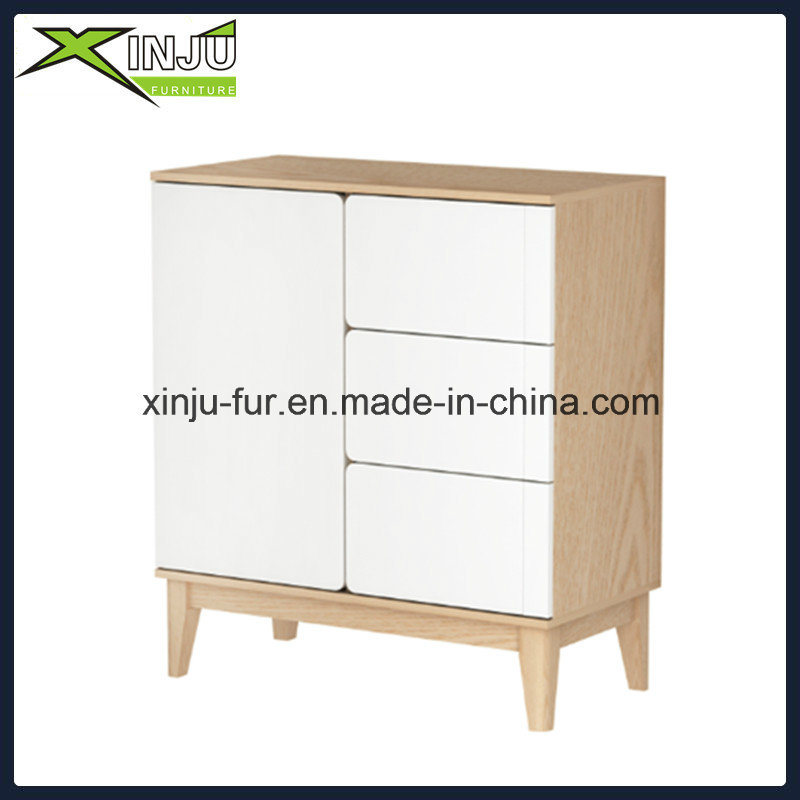 White + Natural Wood/Wooden Modern Sideboard Cabinet