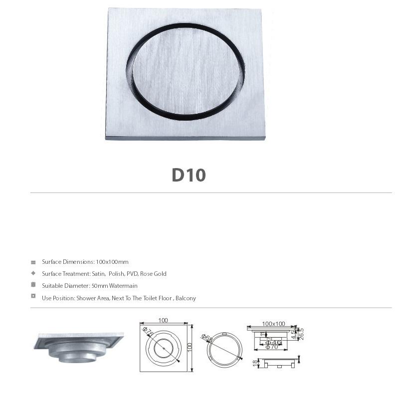 High Quality Stainless Steel Bathroom Hardware Floor Drain (D10)