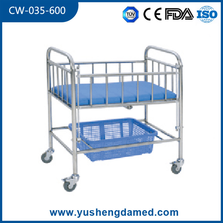 Hospital Furniture Stainless Steel Baby Bed Infant