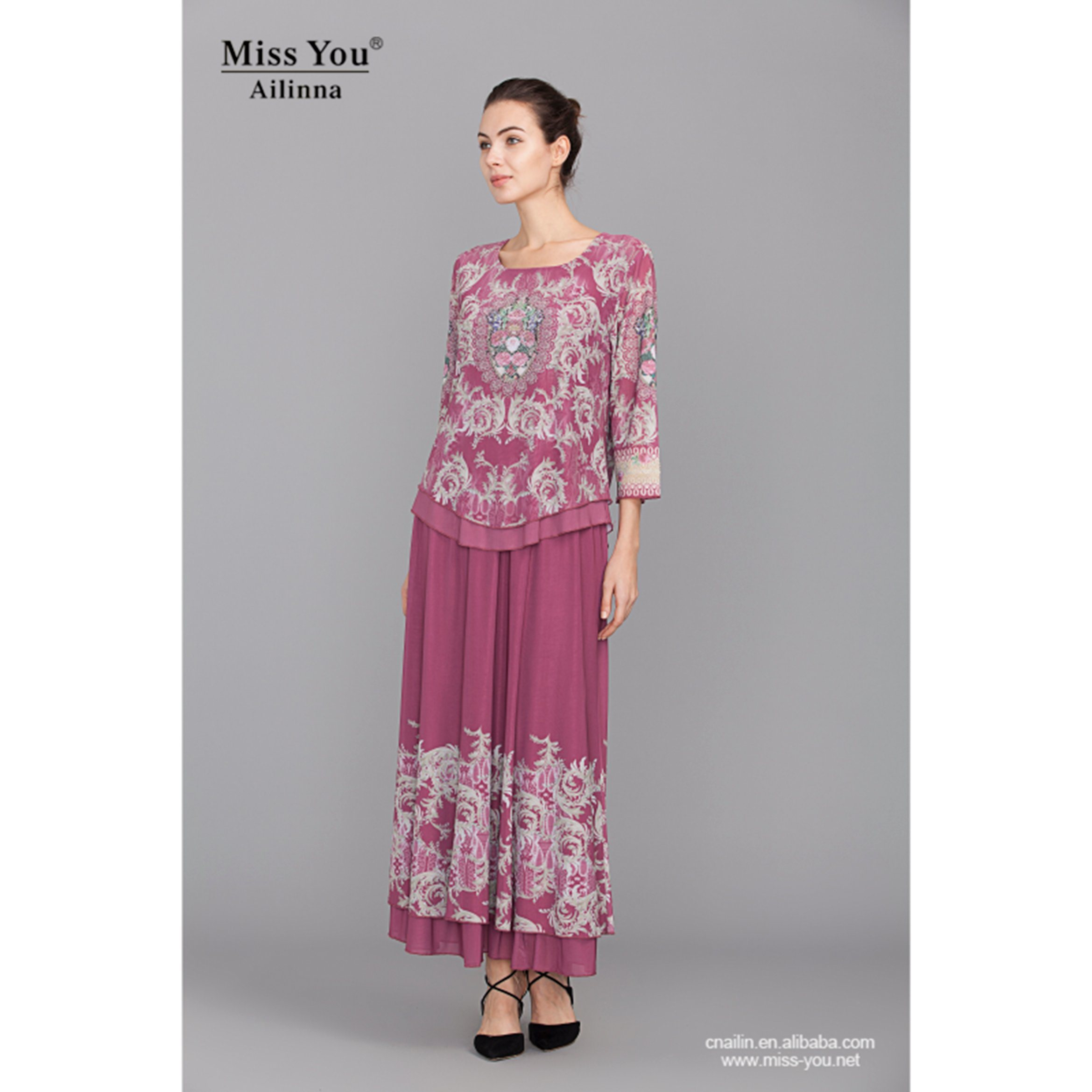 Miss You Ailinna 801842 Ladies Ethnic Long Sleeve Maxi Dress