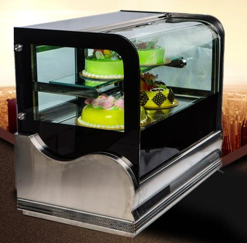 Curve Glass Door Stainless Steel Table Cake Showcase Cooler with Ce, CB, RoHS