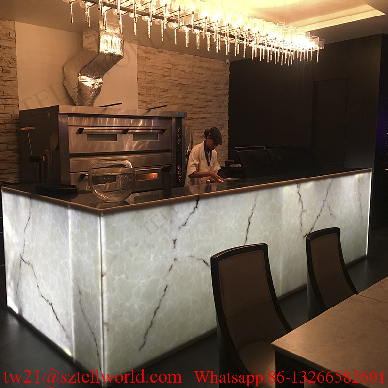 Illuminate Onyx Marble LED Restaurant Bar Furniture Restaurant Counter for Sale