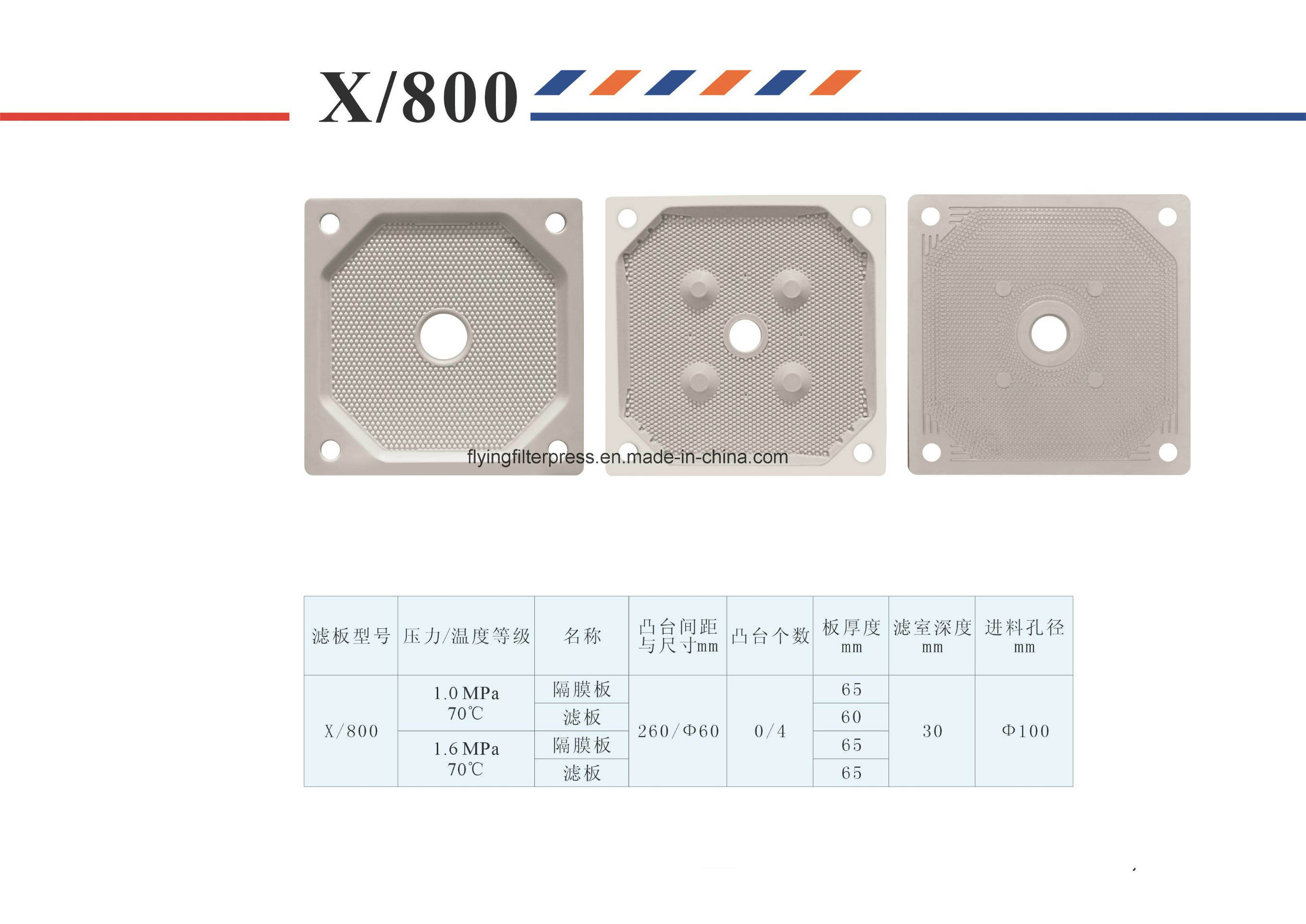 Higher Pressure PP Membrane Filter Plate Xg800