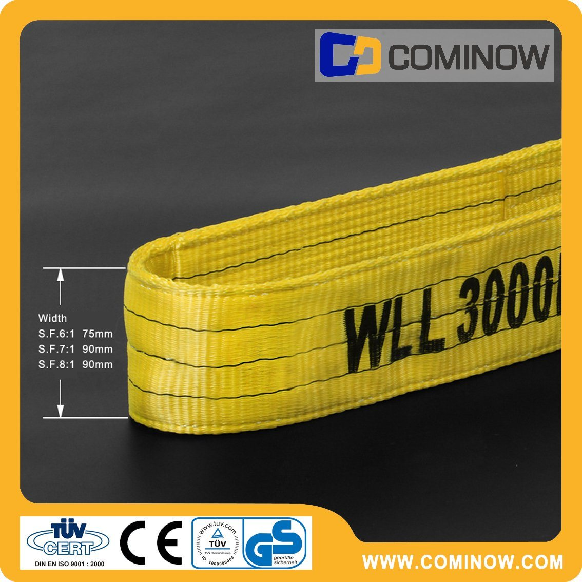 Polyester Flat Webbing Slings Double Ply Eye to Eye Type 3000kgs Yellow Color En1492-1