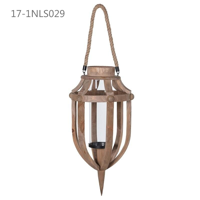 Shabby Unique Splice Wooden with Metal Handle of Wooden Lanterns